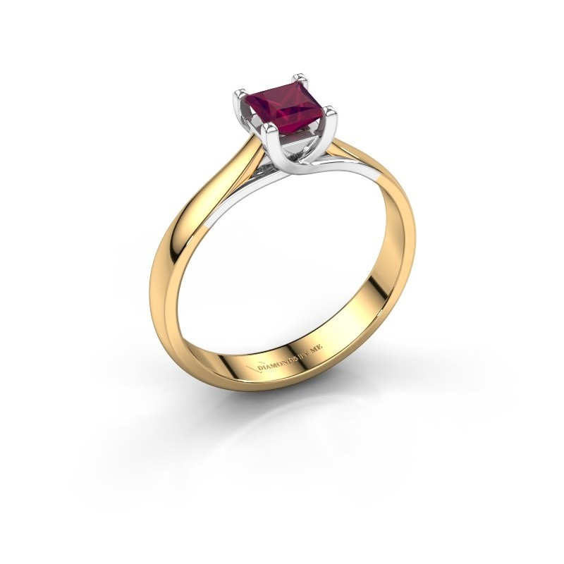 Engagement ring Mia Square 585 gold rhodolite 4 mm