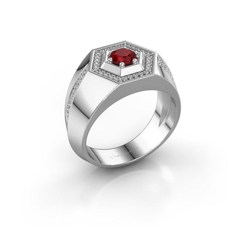 Men's ring Sjoerd 375 white gold ruby 4.7 mm