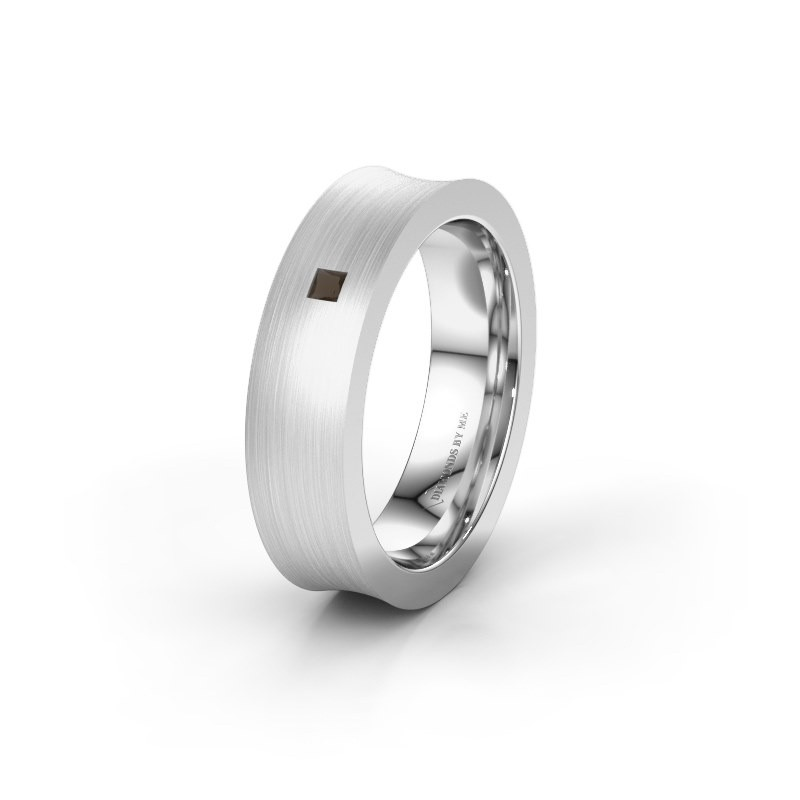 Wedding ring WH2238L2 585 white gold smokey quartz ±6x2.2 mm