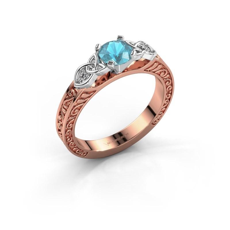 Verlovingsring Gillian 585 rosé goud blauw topaas 5 mm