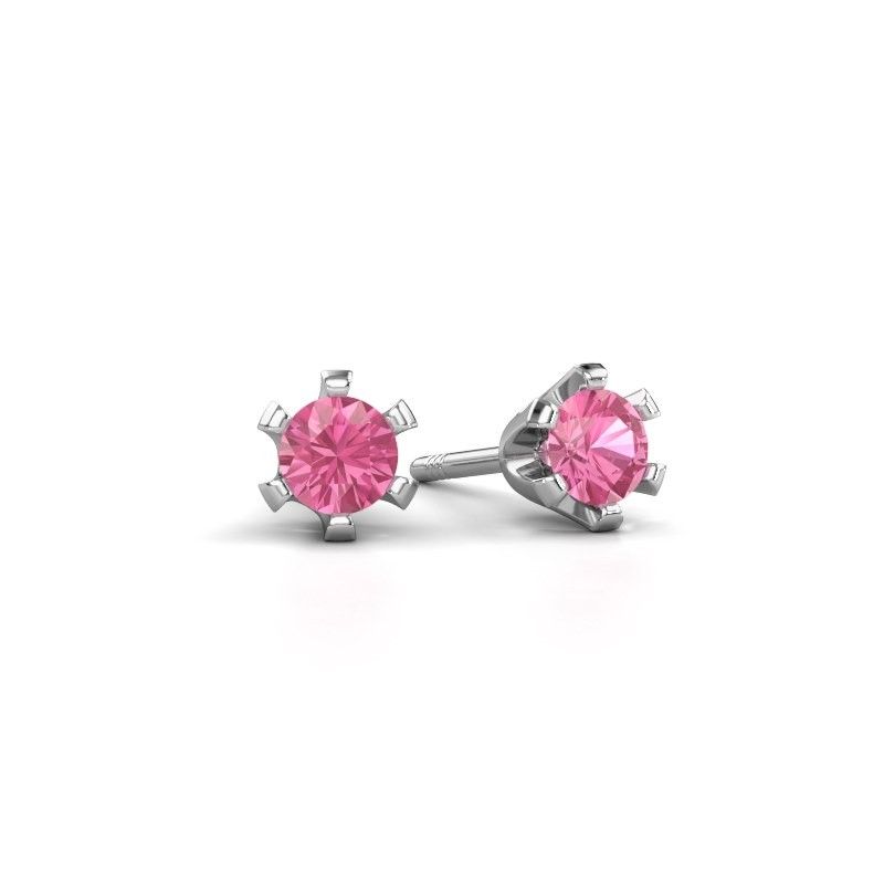 Stud earrings Shana 925 silver pink sapphire 4 mm