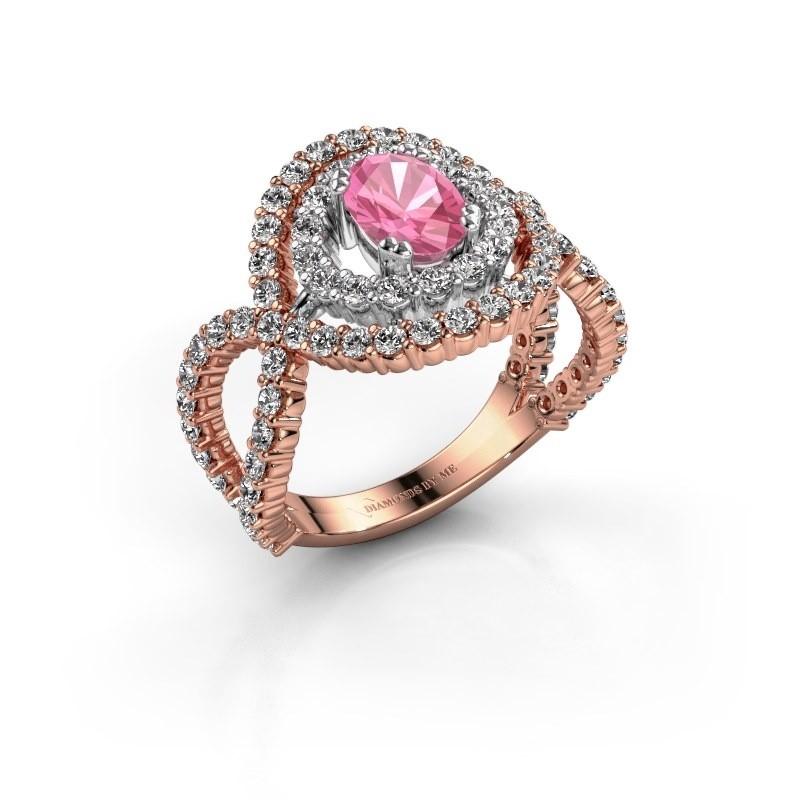 Ring Chau 585 rosé goud roze saffier 7x5 mm