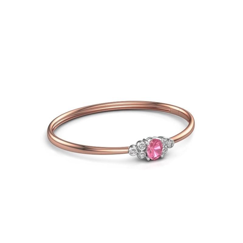 Slavenarmband Lucy 585 rosé goud roze saffier 8x6 mm