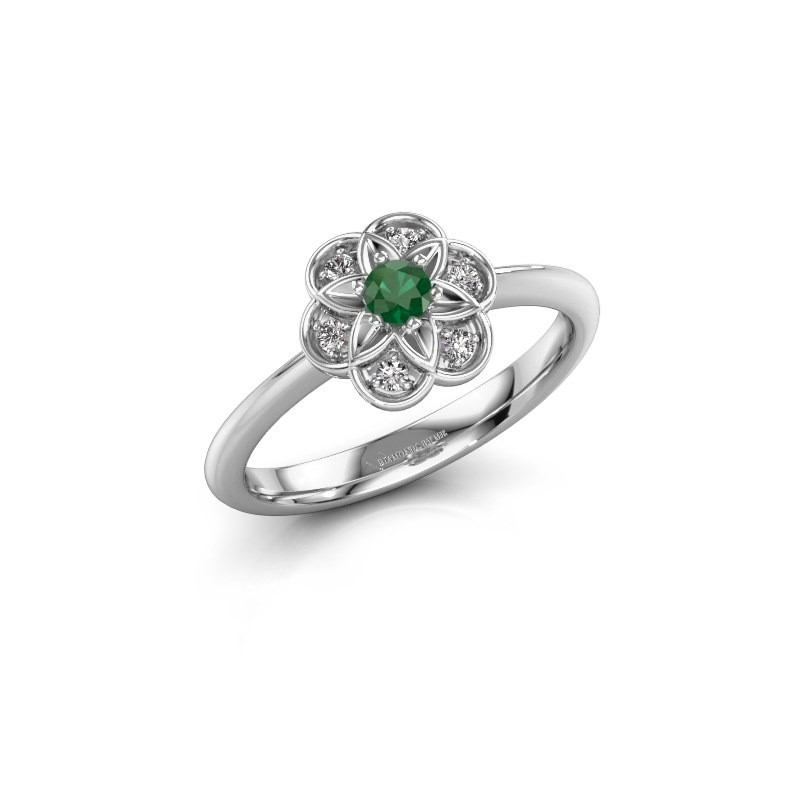 Engagement ring Uma 585 white gold emerald 3 mm