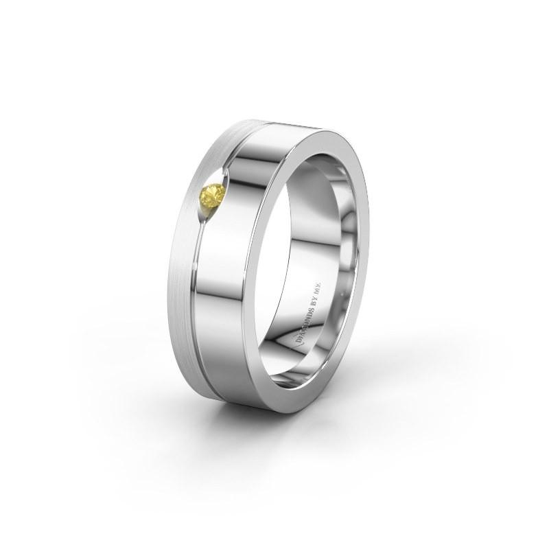 Trouwring WH0329L16B 925 zilver gele saffier ±6x2 mm