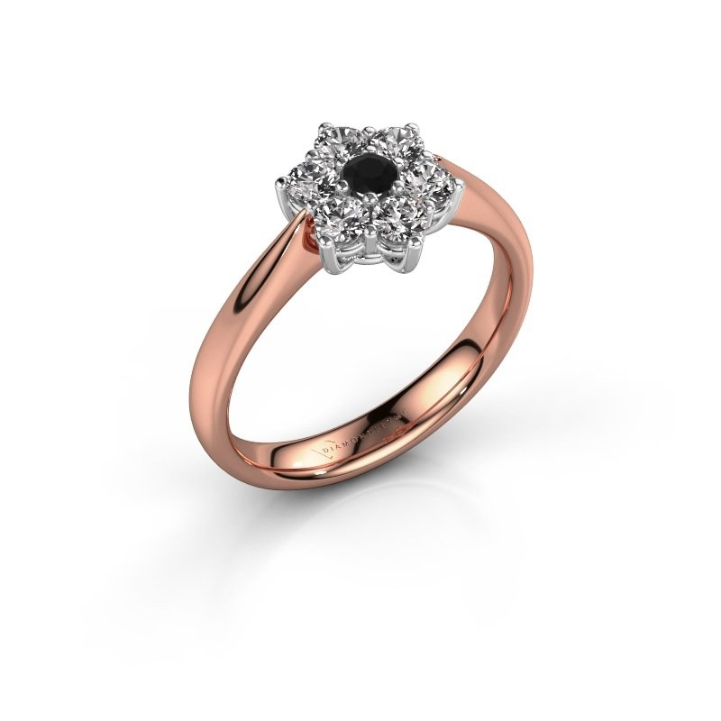 Promise ring Chantal 1 585 rosé goud zwarte diamant 0.096 crt