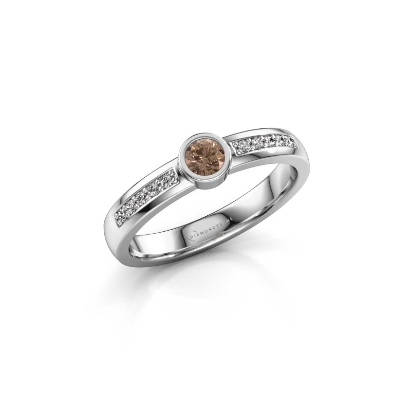 Engagement ring Ise 2 925 silver brown diamond 0.275 crt