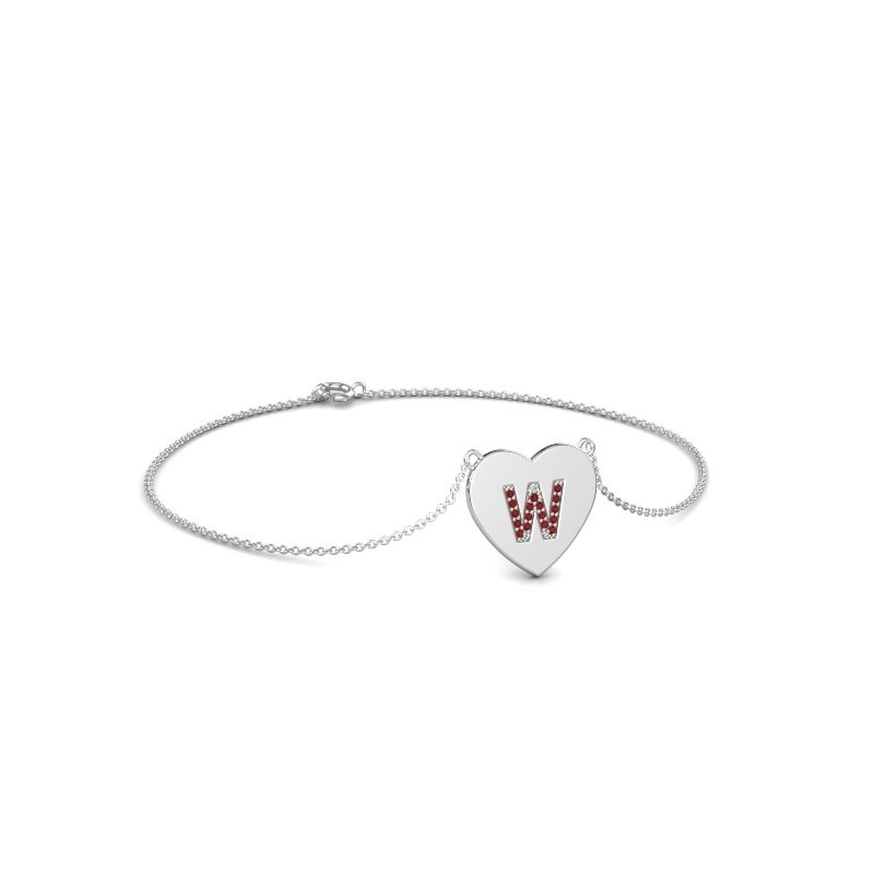 Armband Initial Heart 375 witgoud robijn 1 mm