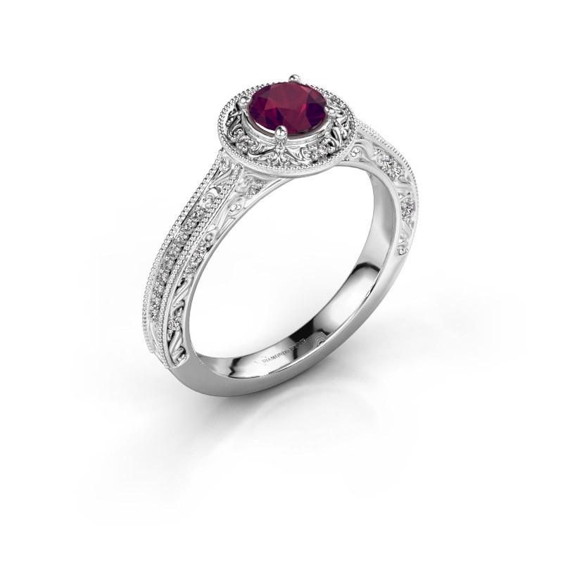 Verlovings ring Alice RND 585 witgoud rhodoliet 5 mm