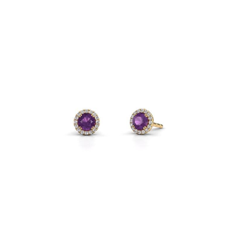 Earrings Seline rnd 375 gold amethyst 4 mm