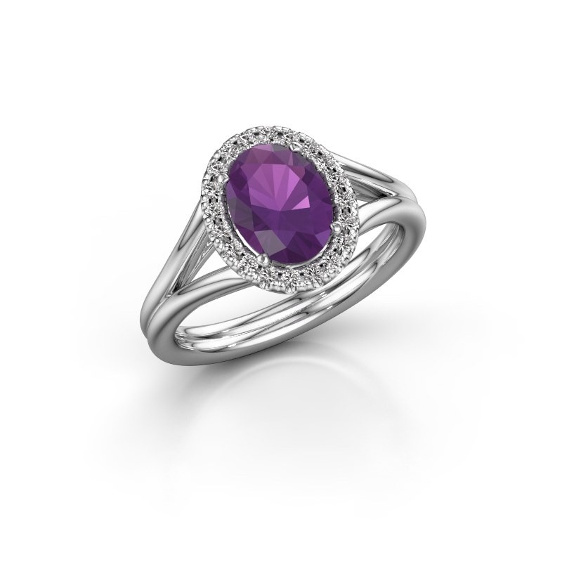 Engagement ring Rachele 1 585 white gold amethyst 8x6 mm