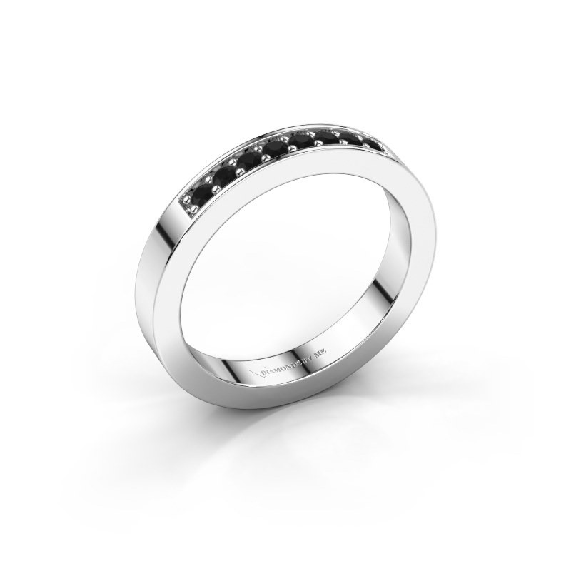 Stackable ring Loes 5 375 white gold black diamond 0.192 crt