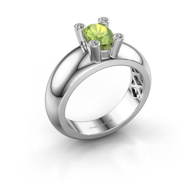 Ring Cornelia Oval 585 white gold peridot 7x5 mm