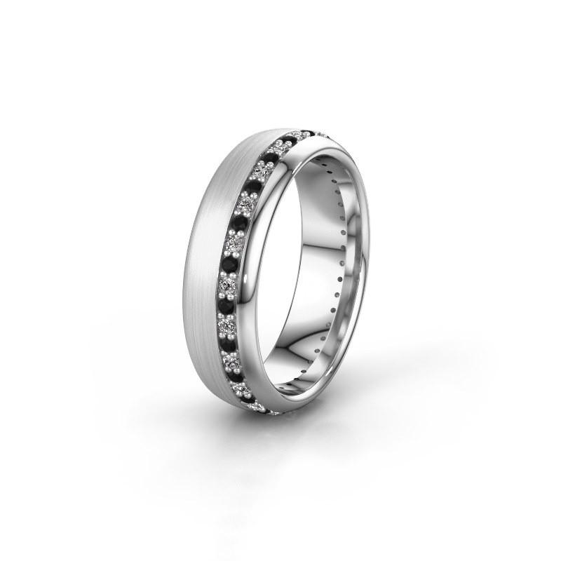 Trouwring WH0303L36BMP 950 platina zwarte diamant ±6x2 mm