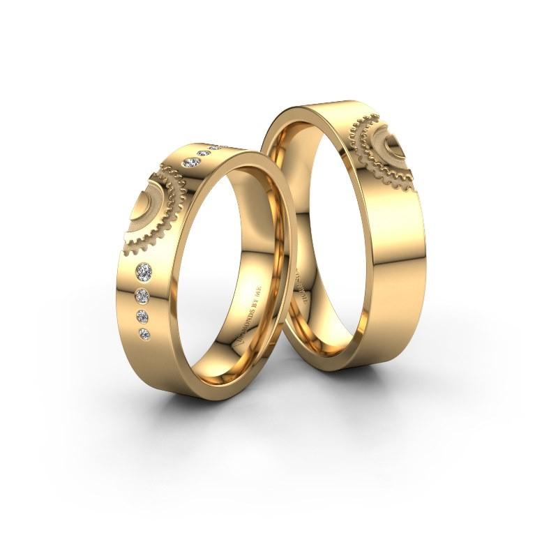 Trouwringen set WH2116LM25A ±5x1.7 mm 14 karaat goud diamant 0.015 crt