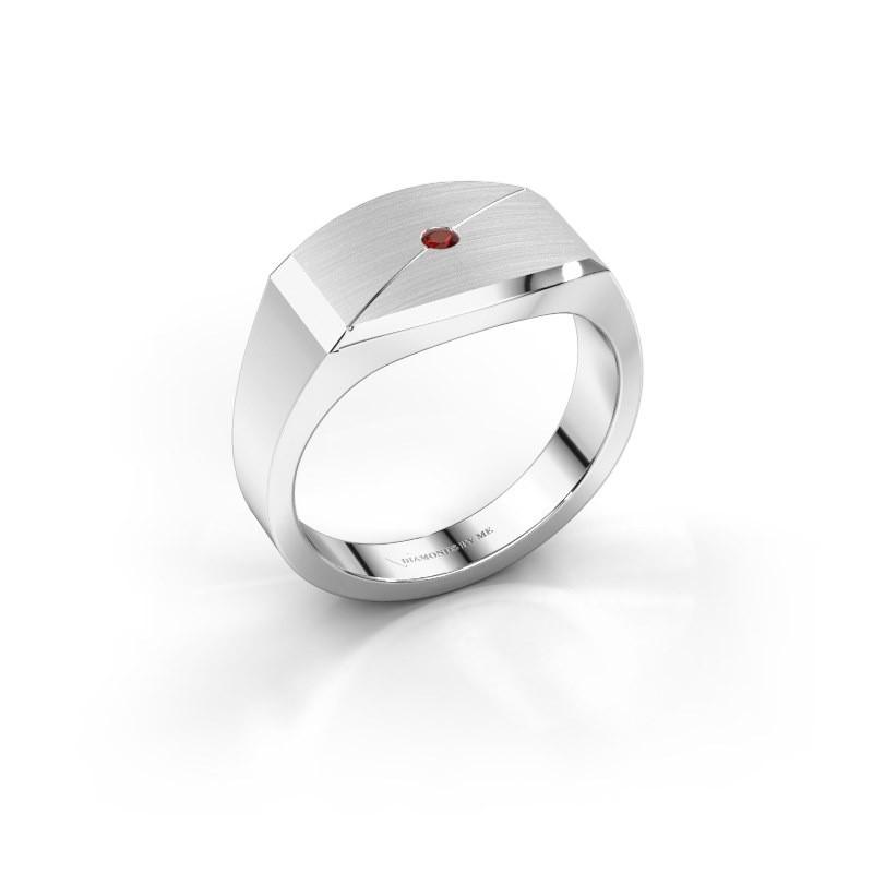 Heren ring Joe 5 925 zilver granaat 2 mm