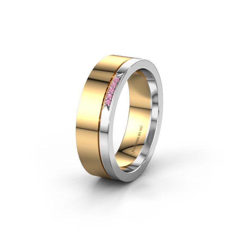 Huwelijksring WH0336L16A 585 goud roze saffier ±6x1.7 mm