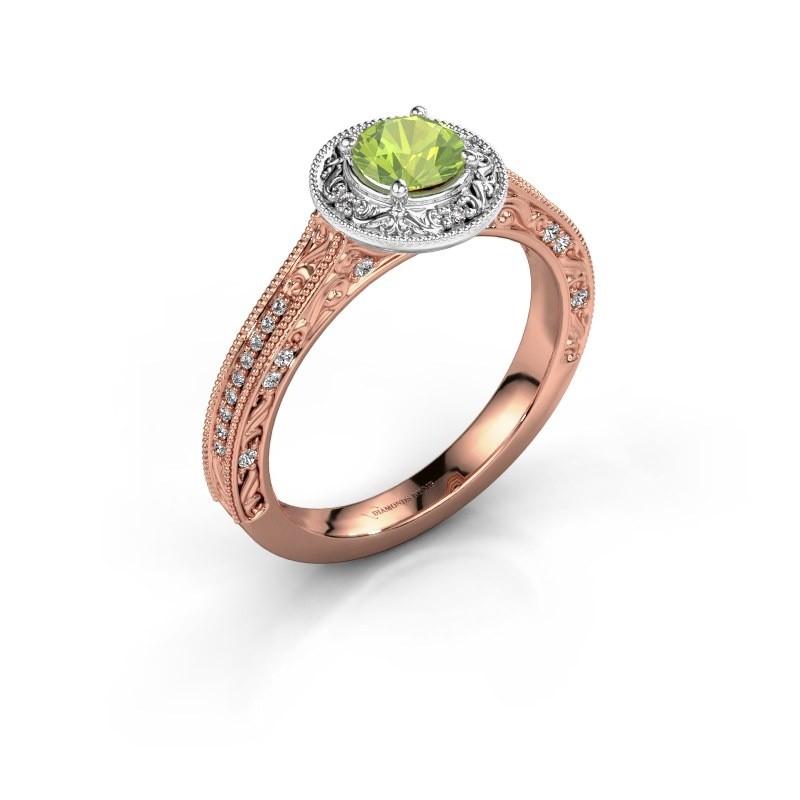 Verlovings ring Alice RND 585 rosé goud peridoot 5 mm