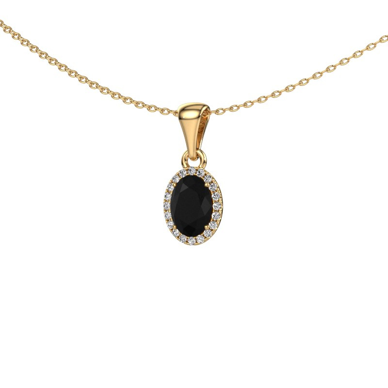 Hanger Seline ovl 585 goud zwarte diamant 1.06 crt