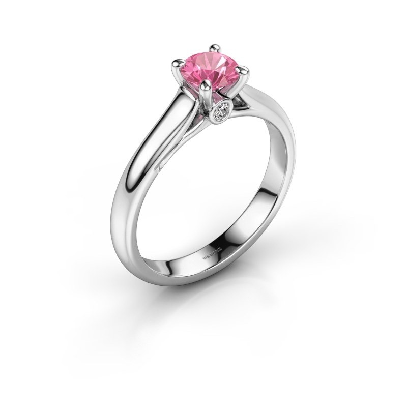 Verlovingsring Valorie 1 585 witgoud roze saffier 5 mm