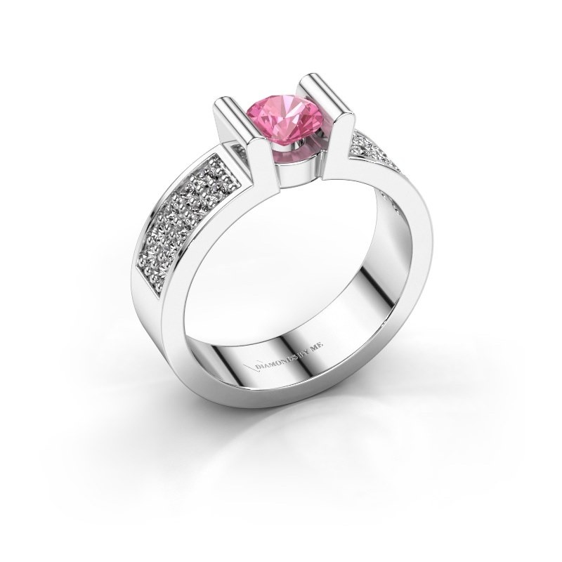Verlovingsring Sofie 3 375 witgoud roze saffier 5 mm