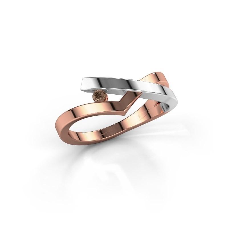 Ring Pamella 585 rosé goud bruine diamant 0.045 crt