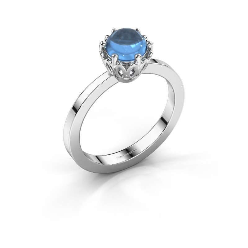 Ring Marly 950 platina blauw topaas 6 mm