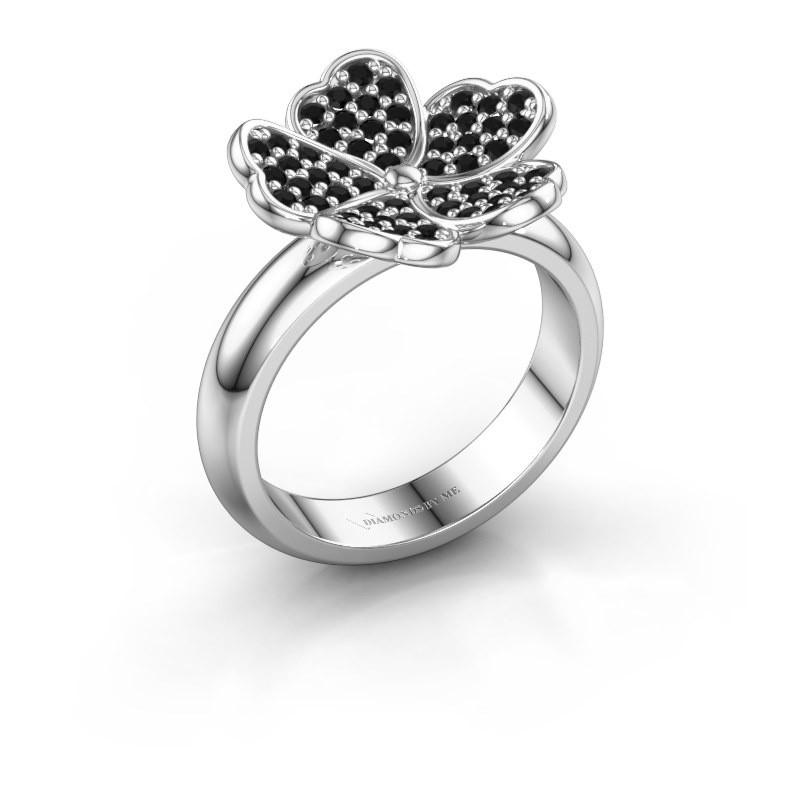Ring Daphne 585 witgoud zwarte diamant 0.540 crt