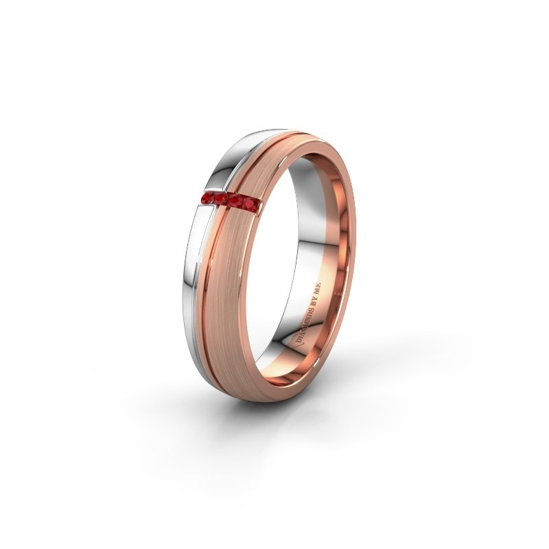 Huwelijksring WH0909L25X 585 rosé goud robijn ±5x1.5 mm