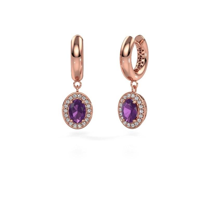 Drop earrings Annett 375 rose gold amethyst 7x5 mm