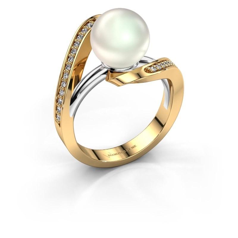 Ring Amber 585 goud witte parel 9 mm