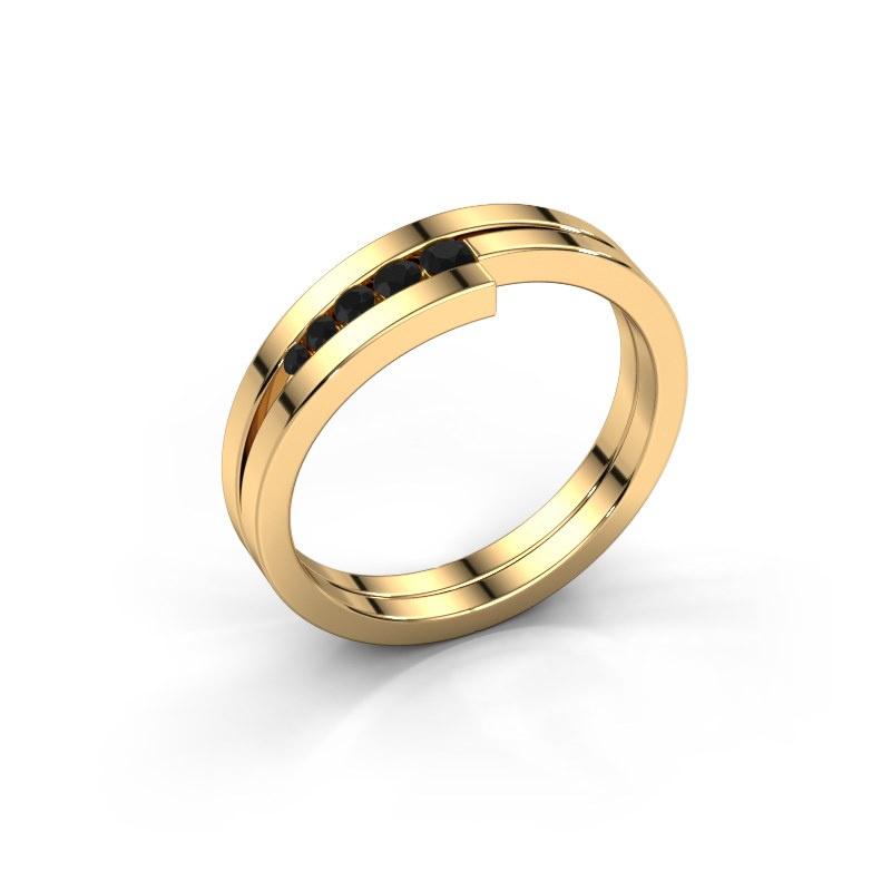 Ring Cato 585 Gold Schwarz Diamant 0.15 crt