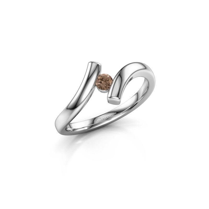Ring Amy 950 platina bruine diamant 0.10 crt
