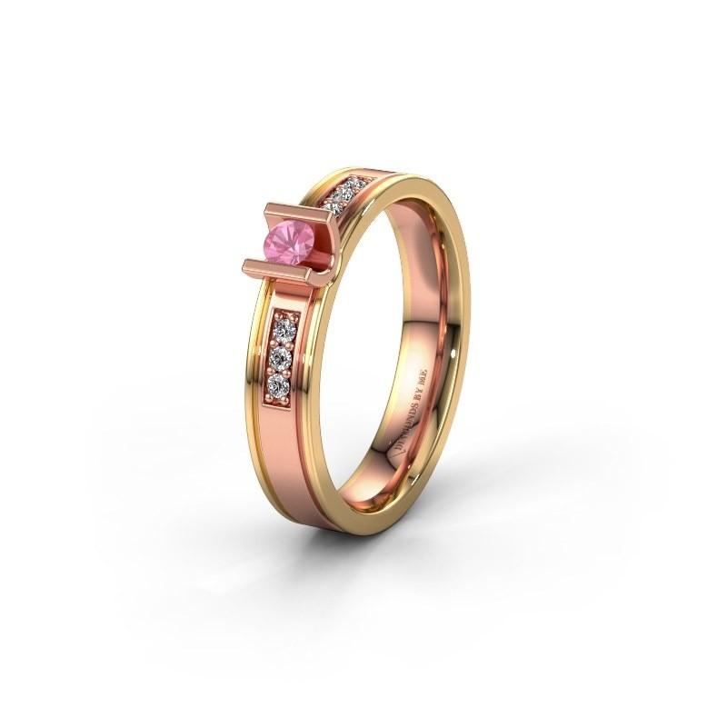 Trouwring WH2108L14A 585 rosé goud roze saffier ±4x1.7 mm