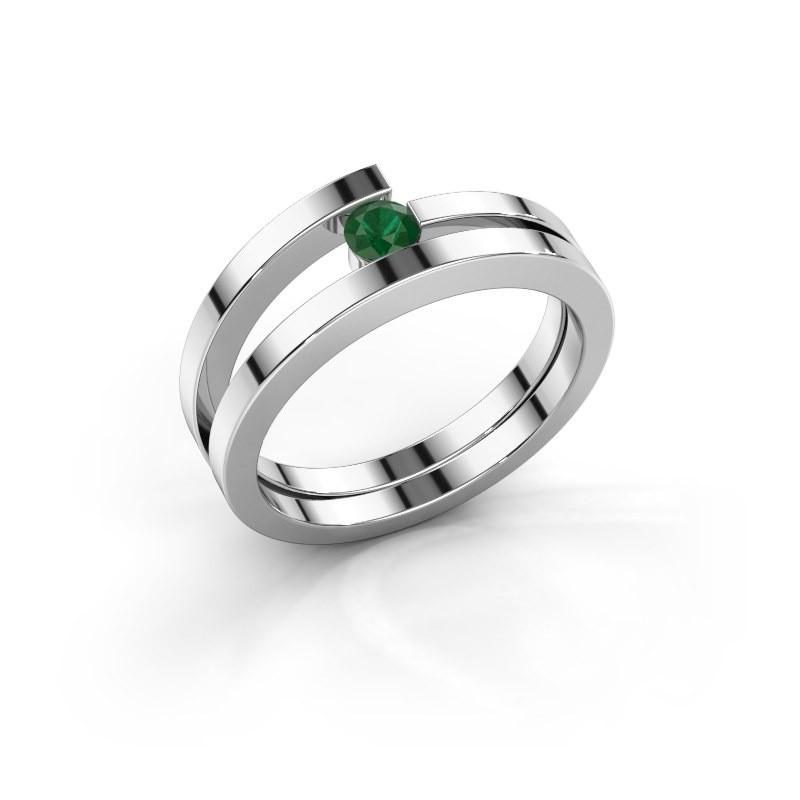 Ring Sandy 585 witgoud smaragd 3.4 mm
