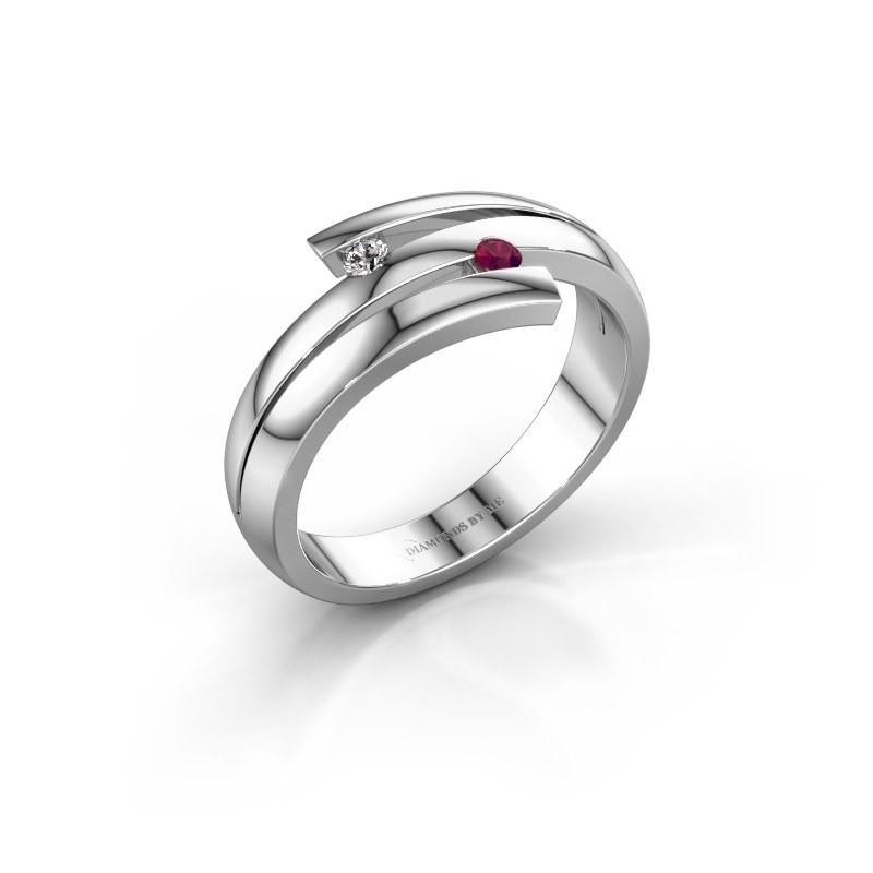 Ring Dena 585 witgoud rhodoliet 2 mm