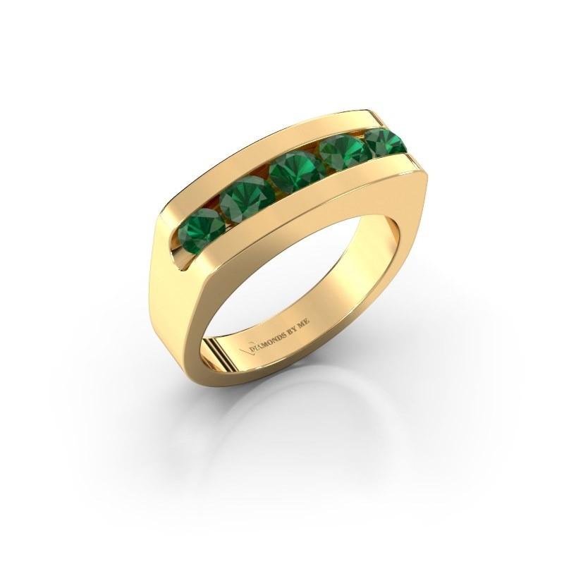 Men's ring Richard 375 gold emerald 4 mm