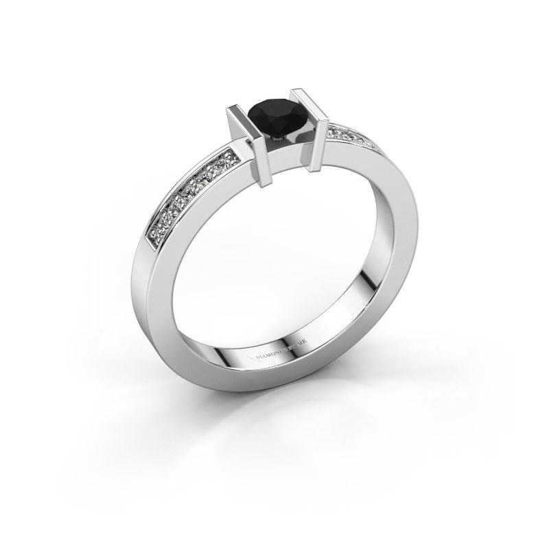 Aanzoeksring Maryam 585 witgoud zwarte diamant 0.40 crt