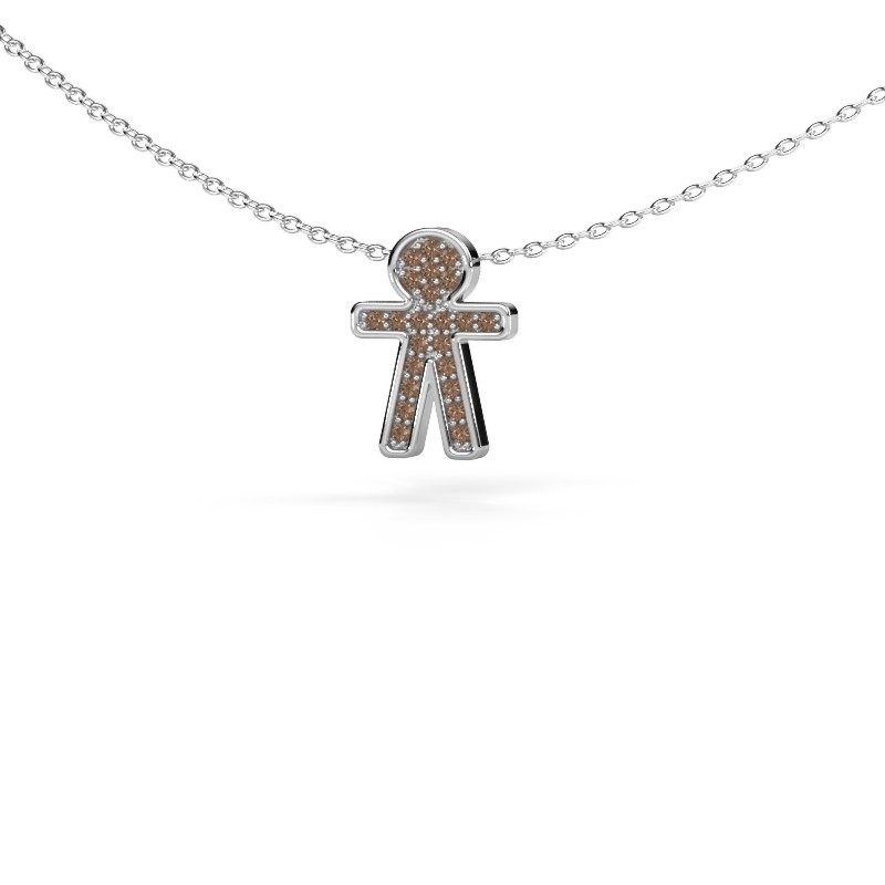 Pendentif Boy 585 or blanc diamant brun 0.115 crt