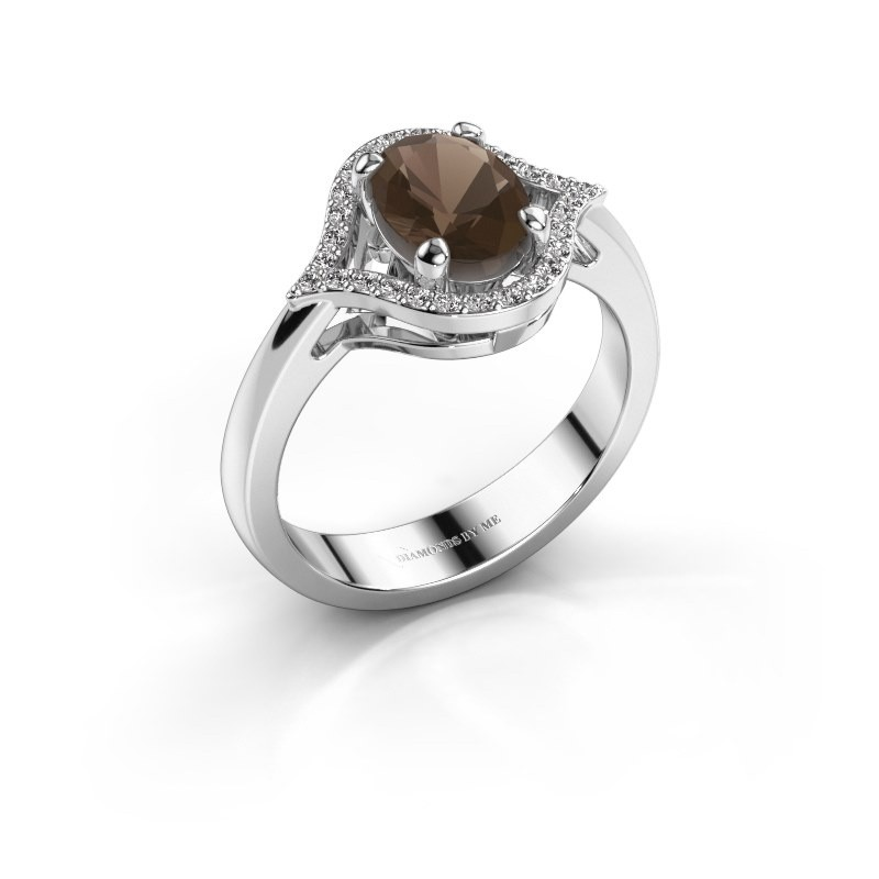 Ring Mendy 925 zilver rookkwarts 8x6 mm
