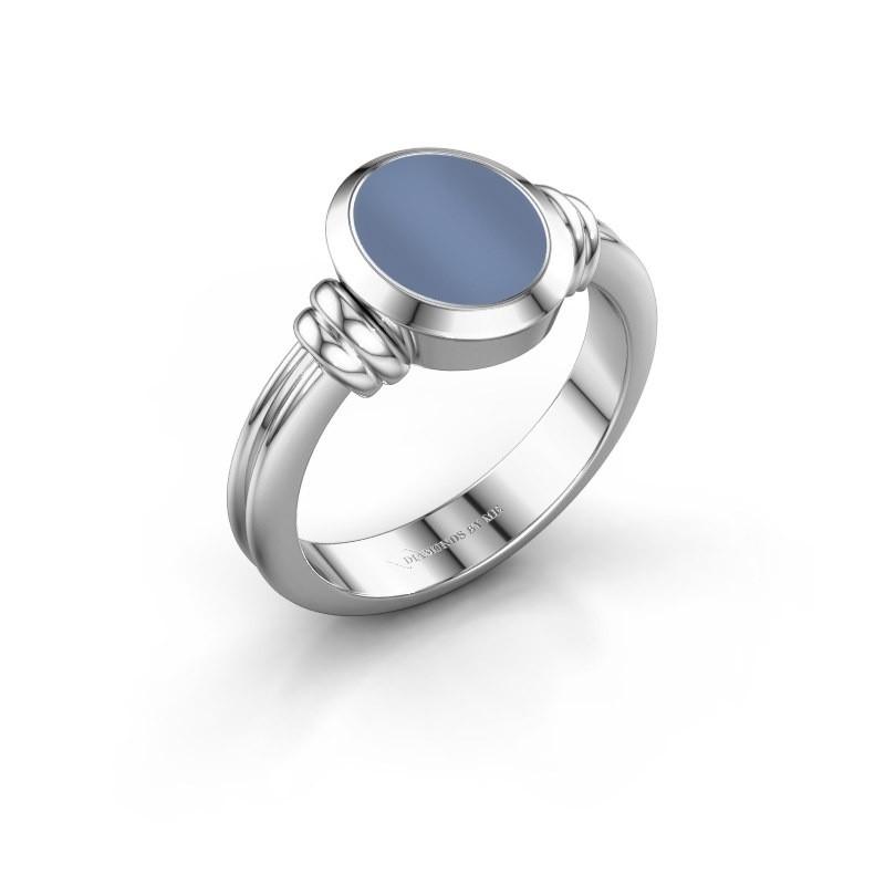 Zegelring Jake 1 F 925 zilver licht blauwe lagensteen 10x8 mm