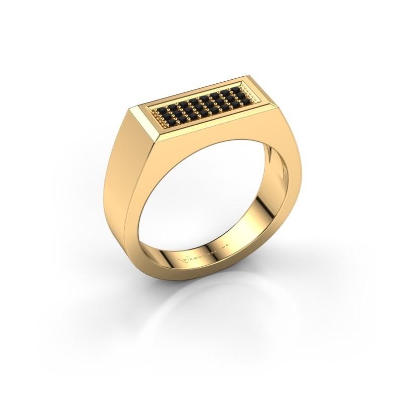 Herrenring Dree 6 375 Gold Schwarz Diamant 0.192 crt