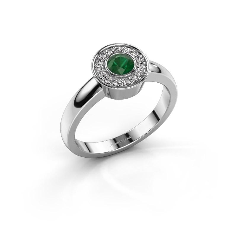 Ring Adriana 1 925 zilver smaragd 4 mm