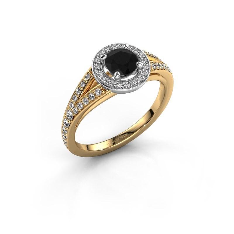 Aanzoeksring Angelita RND 585 goud zwarte diamant 0.932 crt