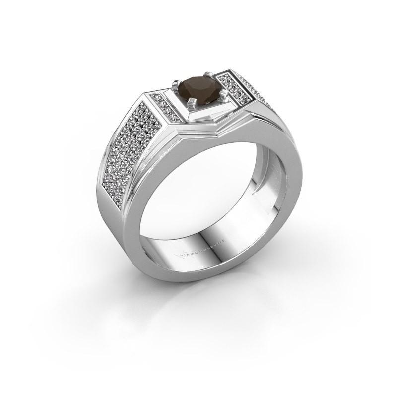 Men's ring Marcel 375 white gold smokey quartz 5 mm