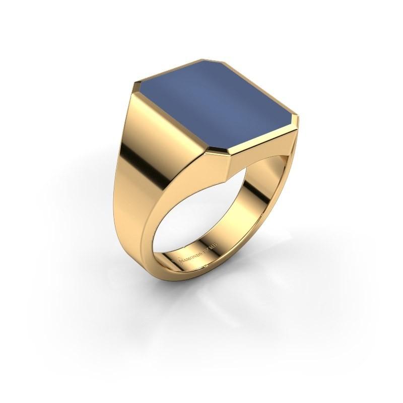 Zegelring Lars 4 585 goud blauw lagensteen 15x12 mm