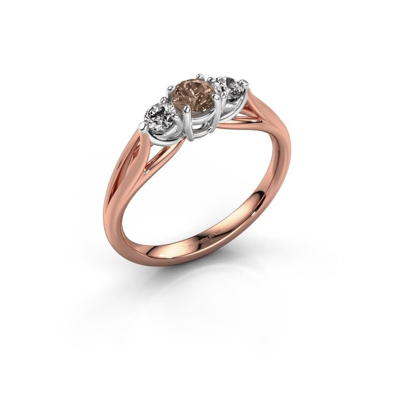 Verlovingsring Amie RND 585 rosé goud bruine diamant 0.50 crt