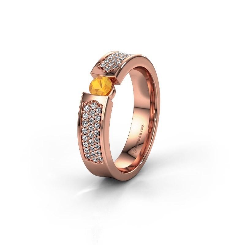 Trouwring WH2100L 375 rosé goud citrien ±5x3 mm