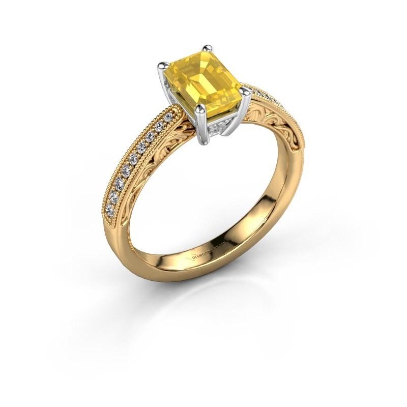 Verlovingsring Shonta EME 585 goud gele saffier 7x5 mm