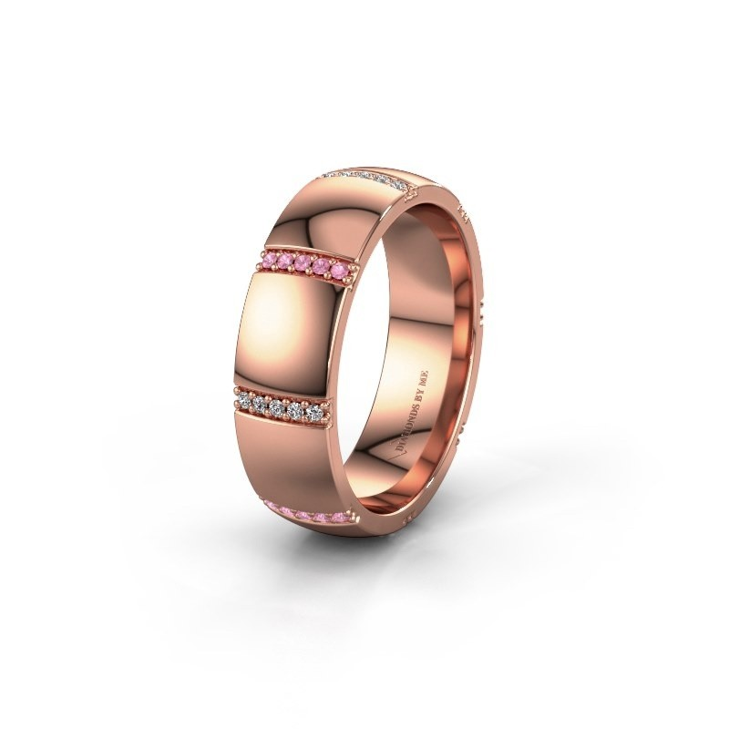Wedding ring WH2124L26B 375 rose gold pink sapphire ±6x2 mm